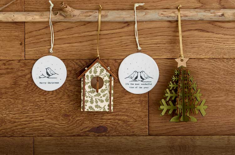 Ethical Christmas ceramic and wooden decorations