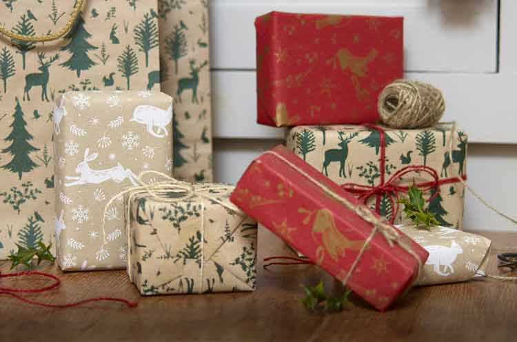 Christmas gift bags and recycled wrapping paper range