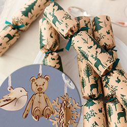 recycled christmas crackers with plastic-free luxury gifts in plastic-free boxes inc wooden decorations