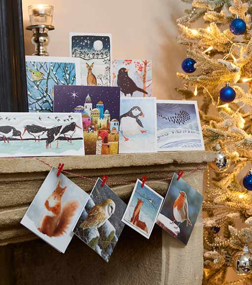 Christmas cards lifestyle shot featuring RSPB christmas cards range selection on banister by Christmas tree