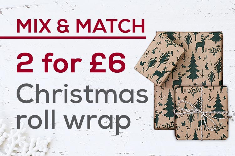 2 for £6 on Christmas roll wrap