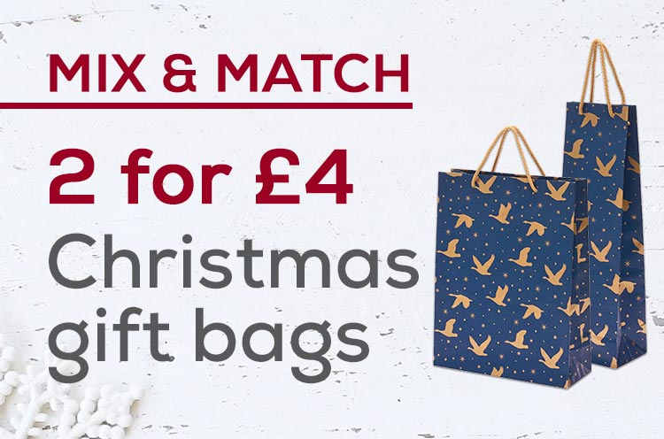 2 for £4 on Christmas gift bags
