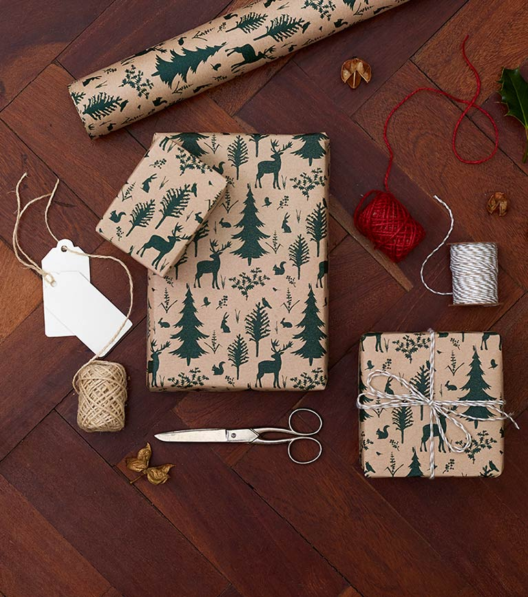 Christmas gift bags and wrapping paper range lifestyle shot