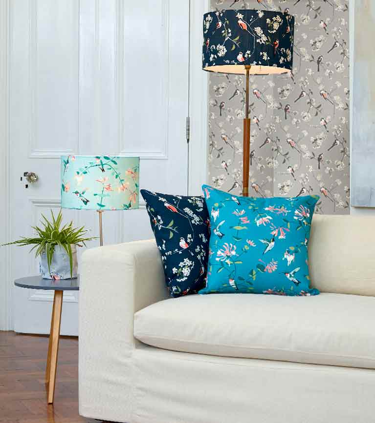 Designer fabrics, wallpaper, lampshades and cushions in bird prints