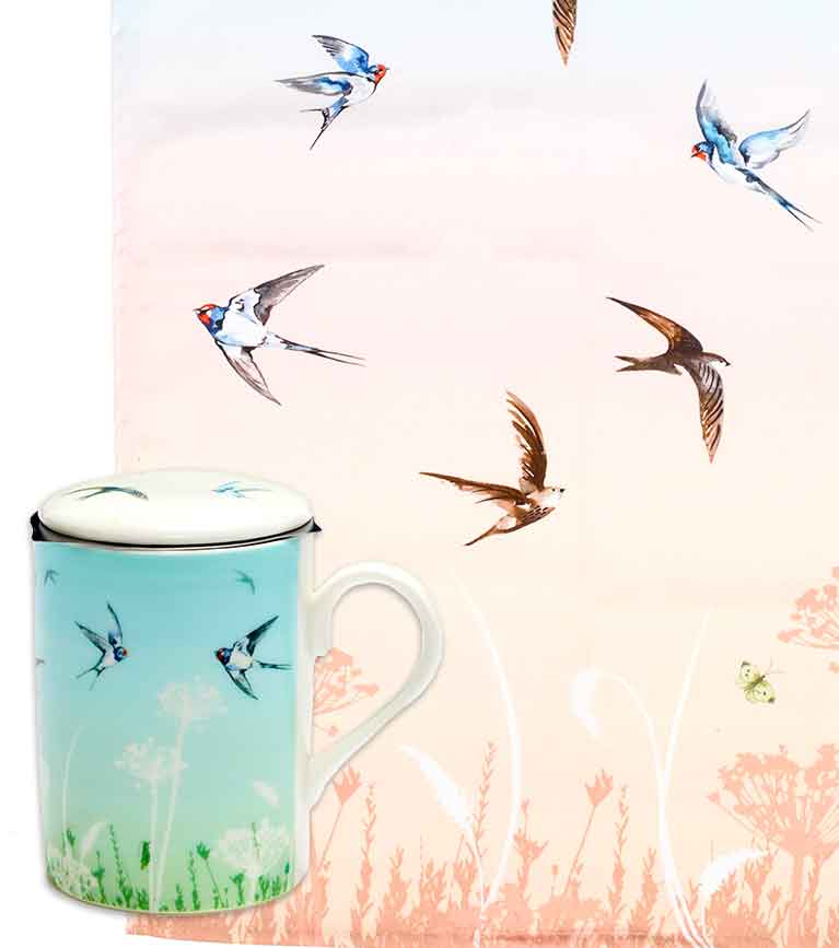 Roy Kirkham mugs, tea towels and tray in RSPB summer haze bird designs