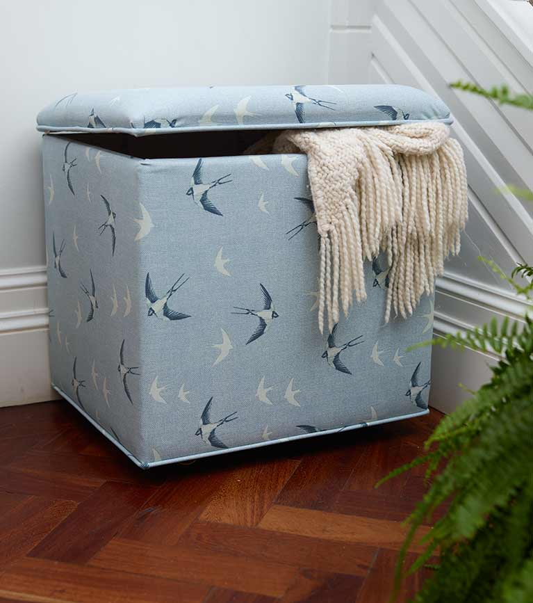 Stuart Jones furniture for RSPB with ottomans, footstools, cushions and more.