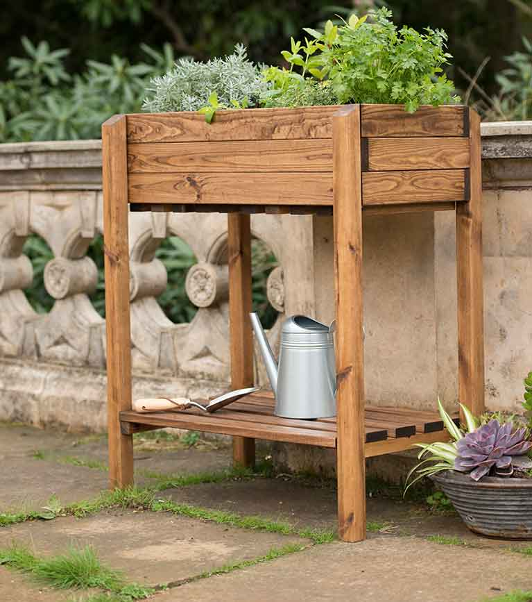 Wooden solid wood herb planter with shelf