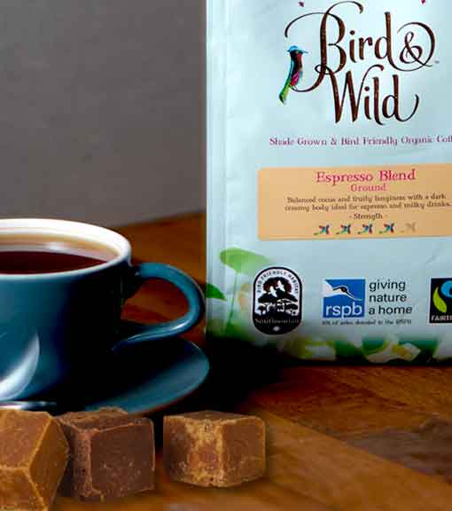 Fairtrade ground coffee and fudge pictured
