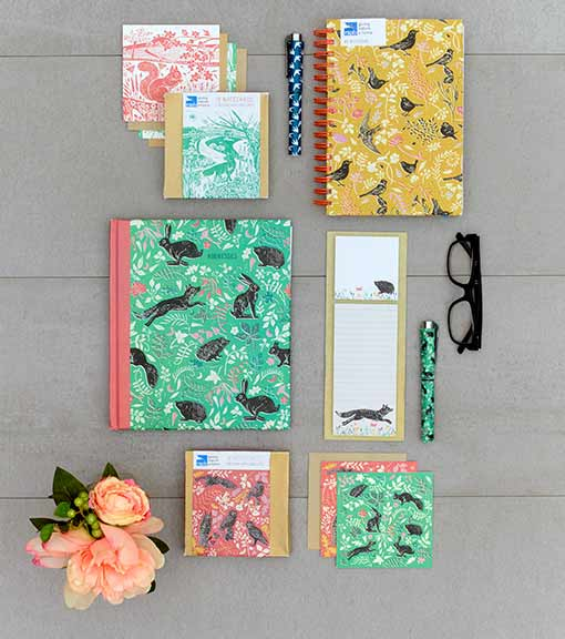 Sticky notes, bird note books, jotter blocks, notepads, pens, greeting cards
