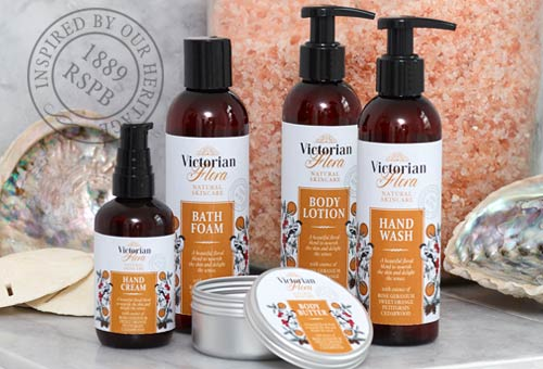 Lifestyle shot of victorian flora vegan toiletries - palm oil free products from RSPB shop