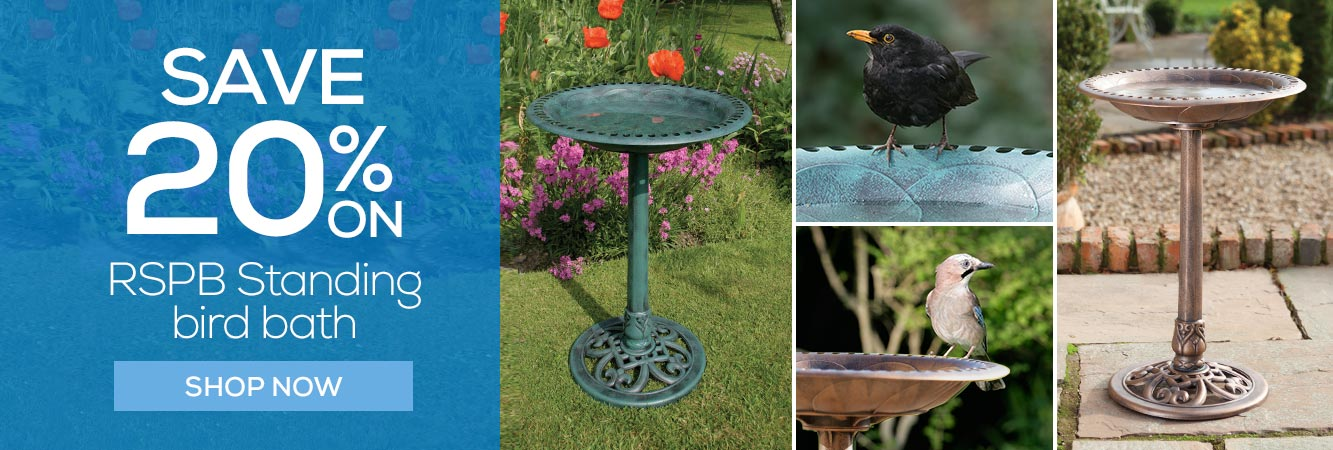 20% off RSPB Standing bird bath in green and bronze effect