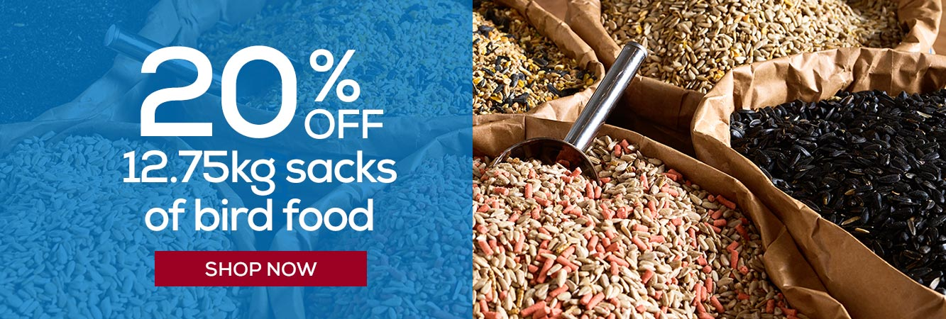 20% off 12.75kg sacks of bird food