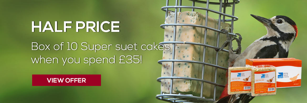 Half price box of 10 sunflower super suet fat cakes for birds when you spend £35 - view offer
