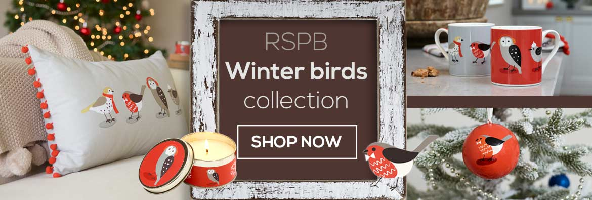 The RSPB Winter birds product collection features cute bird illustrations on cushions, scented candle tins, tree decorations, mugs and more. Shop now.