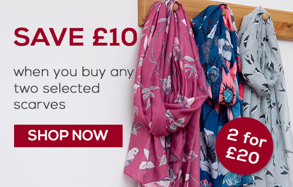 Scarves 2 for £20 - Save £5 when you buy any two selected scarves