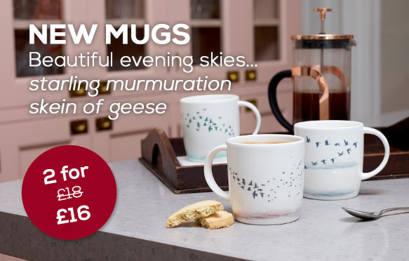 NEW beautiful mugs featuring evening skies of flocks of geese and a starling murmuration plus buy two save two pounds.
