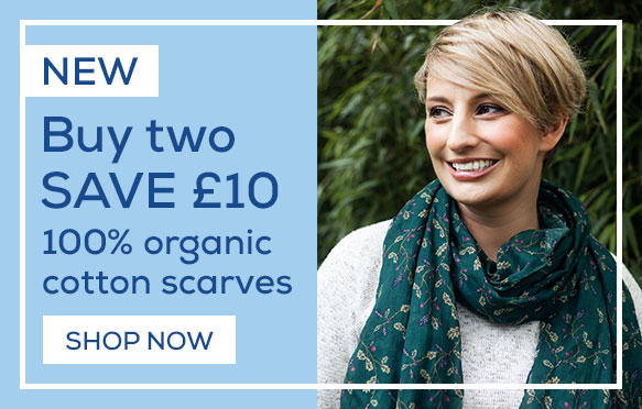 NEW 100% organic cotton scarves. Buy two and save £10