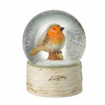 Traditional Christmas snow globe robin product photo