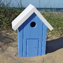 Beach hut nest box white and blue product photo