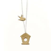 Bird box pendant, brass product photo