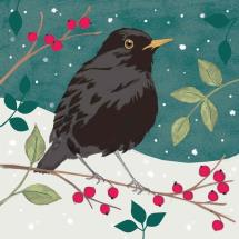 Blackbird & berries RSPB charity Christmas cards - 10 pack product photo