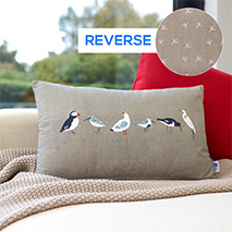 Coastal birds cushion - multi birds grey oblong product photo