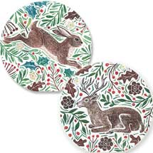 Foliage and hare RSPB charity Christmas cards - 10 pack product photo