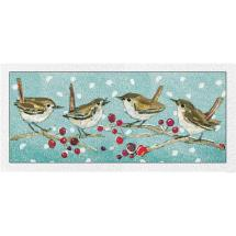 Four calling birds RSPB charity Christmas cards - 10 pack product photo