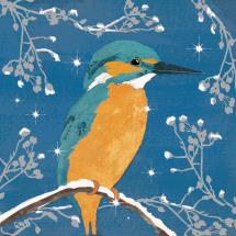 Frosty kingfisher RSPB charity Christmas cards - 10 pack product photo
