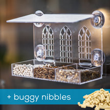 Gothic arch window feeder with 1kg Buggy nibbles product photo