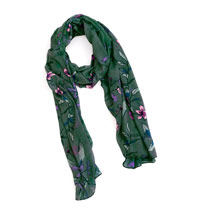 Floral RSPB organic cotton scarf, forest green product photo