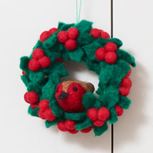 Felt holly wreath robin hanging decoration product photo