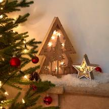 Light up wooden star and tree set product photo