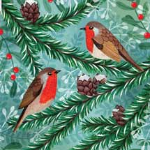 Little robins RSPB charity Christmas cards - 10 pack product photo