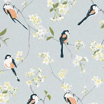 Lorna Syson fabric, grey long-tailed tit product photo