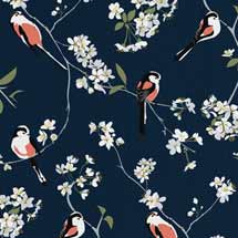Lorna Syson fabric, navy long-tailed tit product photo