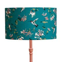Lorna Syson hummingbird lampshade, teal product photo