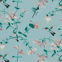 Lorna Syson fabric, mint hummingbird product photo