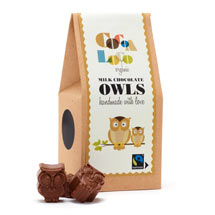 Milk chocolate owls by Cocoa Loco product photo