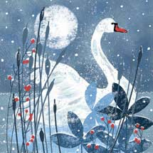 Moonlight swan RSPB charity Christmas cards - 10 pack product photo