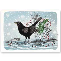 Morning blackbird RSPB charity Christmas cards - 10 pack product photo