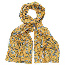 Mustard floral RSPB organic cotton scarf product photo