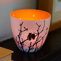 Owls silhouette tea light holder product photo