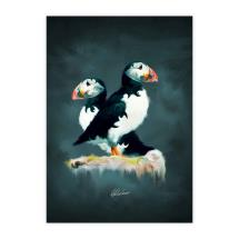 Pair of puffins mounted art print product photo