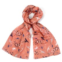 Pink murmuration RSPB organic cotton scarf product photo