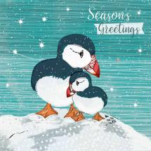 Puffin cuddles RSPB charity Christmas cards - 10 pack product photo