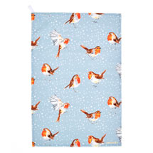 Robins in the snow tea towel product photo
