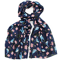 Royal blue birds & flowers RSPB organic cotton scarf product photo
