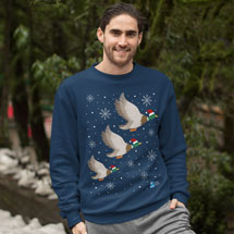 Ethical Christmas jumper, flying ducks product photo