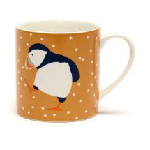 RSPB Puffins mug, ochre product photo